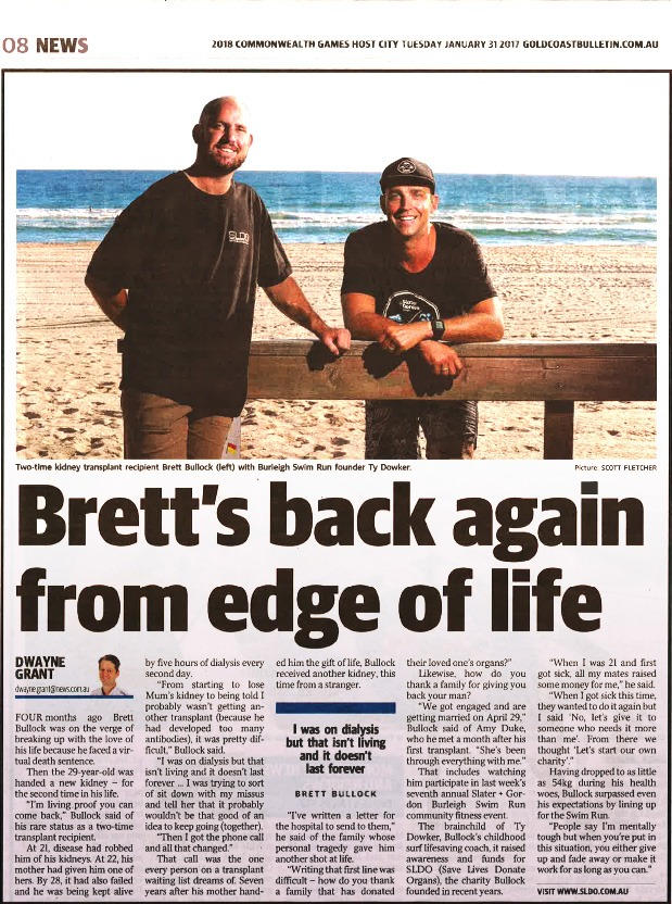 Brett's back again from edge of life